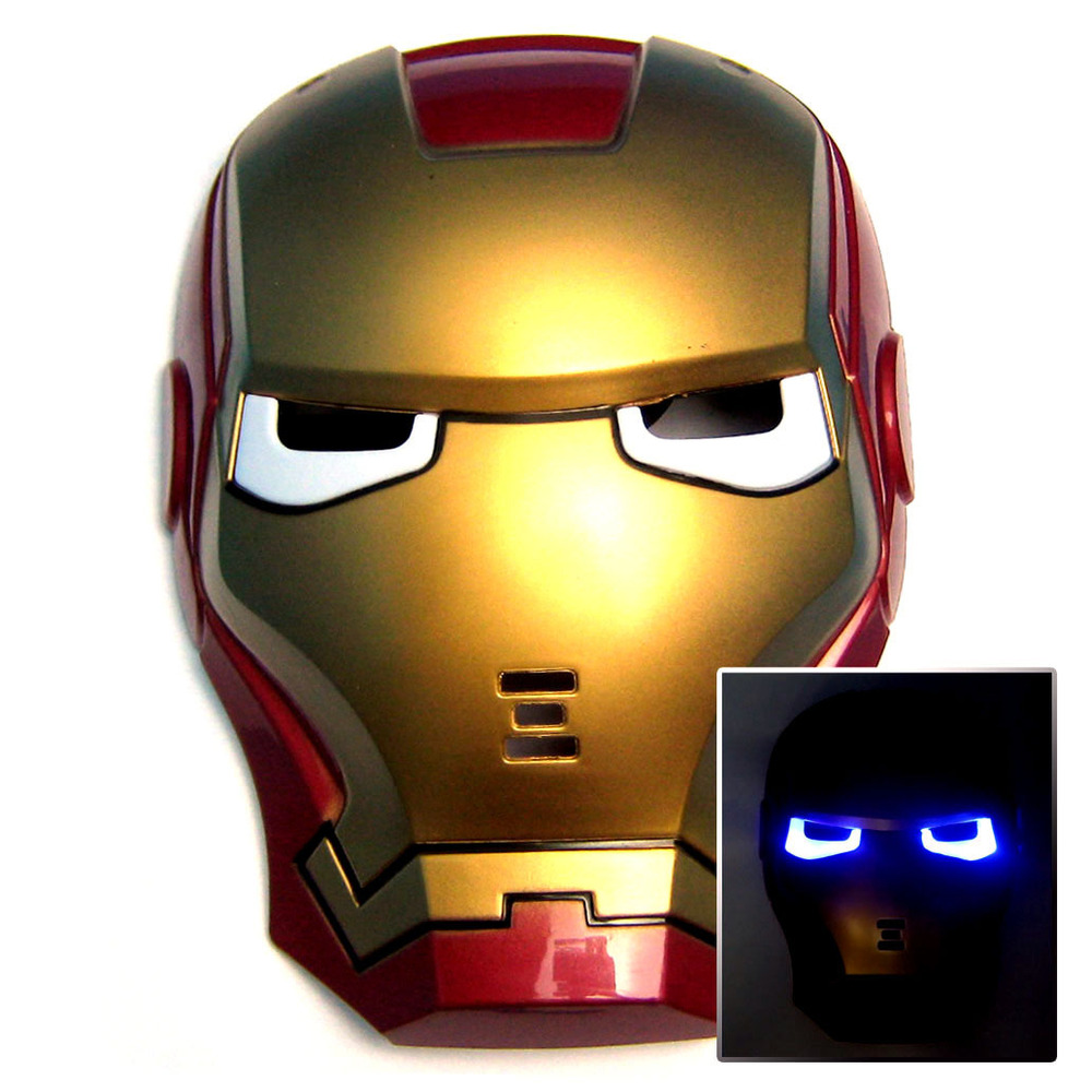 Free Shipping Firm Package!iron Man Masquerade Ball Park Halloween Carnival Mask,Glowing,With Led Light [CWC000456](China (Mainland))