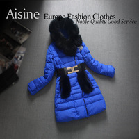 2013 winter new arrival European style women jacket fashion design and long sections Slim Down coats parka white / blue / orange