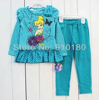 3 sets/lot spring autumn baby girls cartoon Tinkerbell long sleeves striped dress+pants 2pcs clothing set kids tracksuits