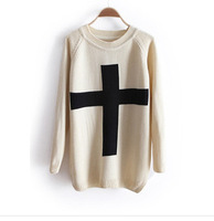 New Fashion Womens Cross Pattern Knit Sweater Outerwear Crew Pullover Tops Free Shipping