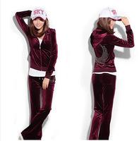 Free shipping 2014 Spring and Autumn Gold velvet Sports Causal set Female Slim Sport wear Women's Sweatshirt  High quality