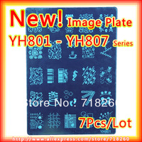 7Pcs/Lot New 2013 YH801-YH807 Konad Stamping Nail Art Nail Stamp Plate Image Plates 21*14.5cm Stainless Steel Template Wholesale