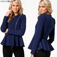 Brand design womens woolen jacket with zipper decoration and ruffle hem design for dropship