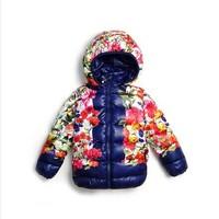 Super beautiful USA design 2014 Winter new girls beautiful flower thickening outerwear,top quality Childern's overcoat & jacket
