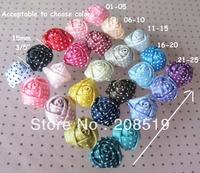 "FZ025 Polka Dots Ribbon Rosette 15mm(3/5"") 25colors available 100pcs Mixed Jewelry accessory"