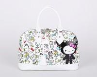 Spring items Hello Kitty Fashion Handbags For Women Genuine Leather Cartoon Handbags White Bag For Girls Free Shipping