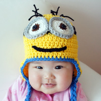 free shipping, Baby Despicable Me Minion handmade Beanie Hat Great For Photo Prop, Children Crochet Hat cap