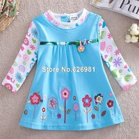 5Piece/lot (12m-5y) with printed beautiful flowers spring / autumn long sleeve T-shirt for girl baby girls tshirts H2762#