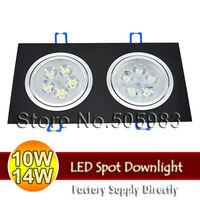 Fedex 5PC 10W 14W High Power 85V~265V 110V 220V White Light Black Aluminium Square Downlight LED Ceiling Spot Recessed Down Lamp