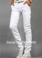 Free Shipping Choose men black / white denim jeans man's Cotton jean High Quality brand designer Elastic casual Jeans for man
