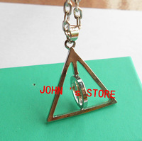 Freeshipping  20pcs a lot HARRY POTTER DEATHLY HALLOWS LOGO METAL NECKLACE BABC1