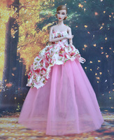Handmade Pink Flower Dress Skirt for Barbie Doll