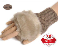2013 Wholesale Fashion Winter Arm Warmer Fingerless Gloves, Knitted Fur Trim Gloves Mitten Free shipping