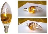 Retail E14/E27/E12 3*3W 9W AC85-265V High Power LED Candle Lamp , white and warm white light Free Shipping