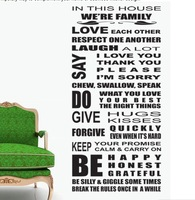 in this House We Are Family/Removable Wall Decals /Waterpoof Wall Sticker/ Sticher 8088
