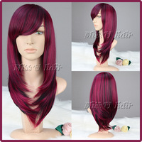 60cm long wavy wig for woman fashion black mixed with wine red color vogue synthetic wigs with bangs