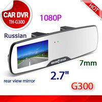 "car dvr 1080p  2.7"" Mini Car Camera Rearview Mirror Dash Vehicle DVR Video Recorder +Glass lens 1920*1080P Full HD Free AV Cable"