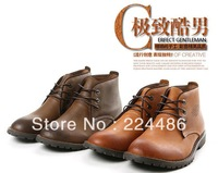 Free shipping 2013 new arrival  personality casual shoes fashion high fashion genuine leather cowhide Men martin boots
