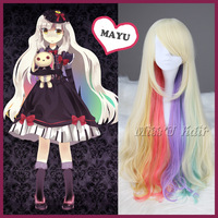 Synthetic MAYU 85cm long wavy wig multi-color anime cosplay wig lolita wig + free wig cap