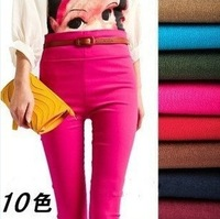 New arrival women elastic slim leggings feet pencil pants with high quality High waist lady trousers Candy Color 20 colors#C0304