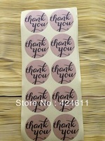 600pcs/lot ,KRAFT PAPER ,black font ,round  thank you stickers ,.3.8*3.8cm,best price in aliexpress!