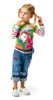 2014 new arrival brand france autumn girls fashion long sleeve t-shirts printed flower princess high quality 3T-10T