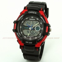 Free shipping OHSEN Red Men ladies Unisex Dual Time Zone LCD Digital Chronograph Date Day Sport watch + Box Q5011