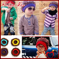 Free Shipping Cute Knitting Wool Baby Fashion Christmas Wig Hat /Kids Fun Curly Cap/Infant Cap/Beanie Hat/Skull Cap/Berets