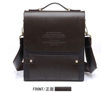 2013 Fashion men shoulder bag genuine leather messenger business bag Drop Shipping Black COLOR