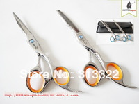 "Hot Sales:6"" HAKUCHO  Professional Hair Cutting Scissors set razor shear+ thinning shear with bag,Barber scissors Kit 440C"
