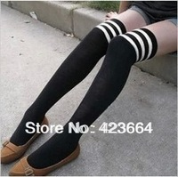 2014 real new solid sexy stockings hose meia mm must have three bars of cotton knee socks / high and 9011 free shipping