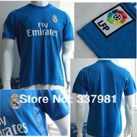 Free Shipping 2013 2014 Real Madrid Away Blue Soccer Jersey Top Thai Quality Ronaldo #7 Kaka #8 football shirts for man custom