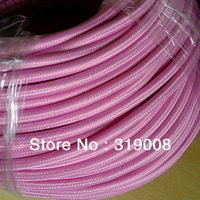 3 wire fabric braided cable 3x0.75mm2  VDE approval  Pink color,50 meters/lot by DHL FREE Shipping