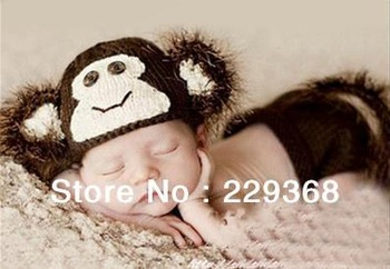 Free Shipping Cute Monkey Beanie baby Unisex Animal Costume handmade Knit crochet photography props hats Cap Newborn Baby Simian