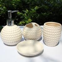 Lovely golf ball  bathroom supplies ceramic  fashion bathroom set of  4 pieces housewarming or  wedding gift sets beige