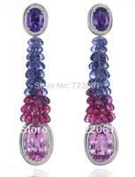 925 sterling silver amethyst crystal powder water long tassel earrings spot contract;