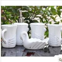 Fashion jingdezhen bone china five pieces ceramic bathroom set wash set tumbler toothbrush holder