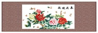 The Peony Painting  Silk Embroidered (Home Decoration) 64*180 Chinese Traditional Folk presents creative