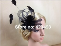 Free Shipping! Looped Net Ribbon and Feather Fascinator on a clip and brooch.