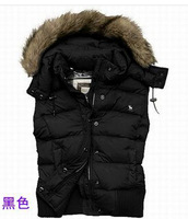 2014   women duck down vest with a hood zipper Plush fur collar  a-f brand vest good quality  free shipping