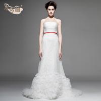 Free Shipping NW32001 Bridal Luxury Minimalist Style Summer Bra-type Large Long Tail 100% Lace Wedding Dress 2013 Latest