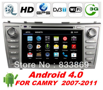 "HD 8 ""Double Din Android 4.0 Car DVD For Toyota Camry 2007-2011 With GPS Nav Stereo RDS Radio TV BT 3G Free WiFi Dongle Map"