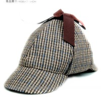 Sherlock Holmes Doctor Who  detective cap wool herringbone double brimmed hat (54-60cm) top quality free shipping