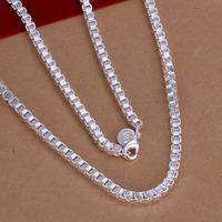 Lose Money!!Wholesale 925 Silver Necklace & Pendant,925 Silver Fashion Jewelry  4mm/20inch Box Chain Necklace SMTN016
