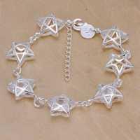 Lose Money!!Wholesale 925 Silver Bracelets & Bangles,925 Silver Fashion Jewelry pentacle with stone Bracelet SMTH257