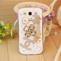 Free shipping,luxury clover bling diamond rhinestone Crystal protective case cover for samsung galaxy s3 i9300 case