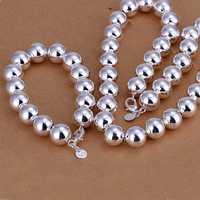 Lose Money!!925 Silver Jewelry Set,Fashion Sterling Silver Jewelry 14MM Beads Necklae&Bracelet SMTS092
