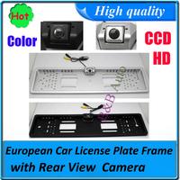 Hot sell car backup rear parking camera HD CCD with EU European Car License Plate Frame