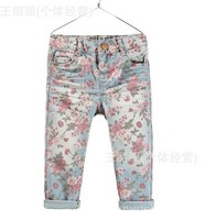 cp1 flower print brand children pants for girls jeans new 2014 autumn -summer kids pants 5pcs/ lot free shipping