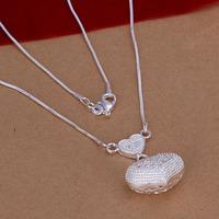 Lose Money!!Wholesale 925 Silver Necklace & Pendant,925 Silver Fashion Jewelry Heart Pendant  Necklace SMTN046